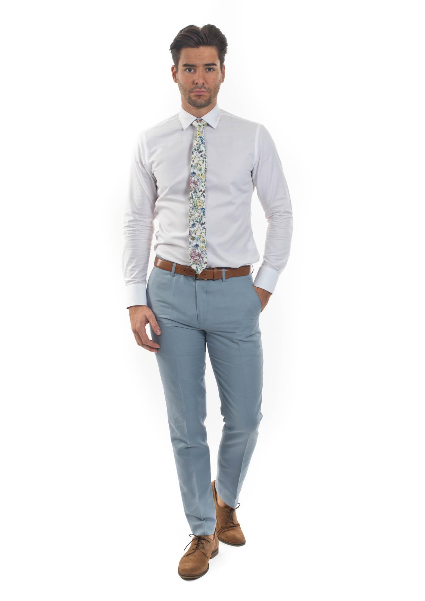 f1a1332be92 Wedding Slim Fit Linen Blend Trousers – Gianni Feraud