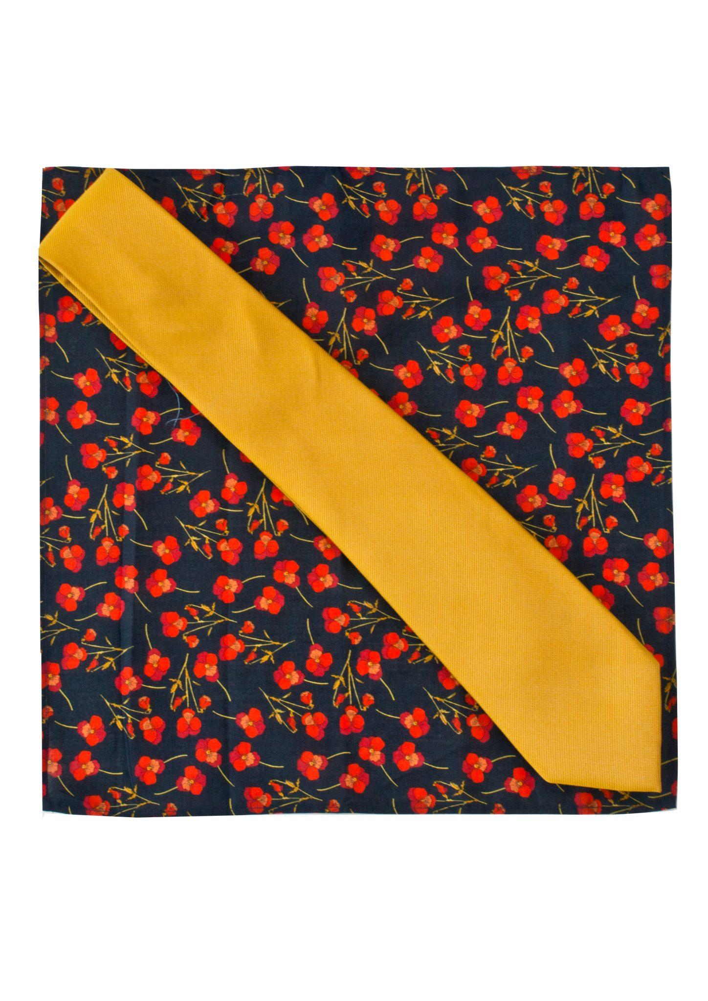 9d94f71d329f Gianni Feraud Liberty Print Ros Pocket Square with Plain Silk Tie – Gianni  Feraud